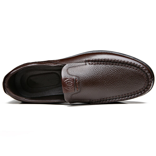 Men Genuine Leather Soft Insole Slip Resistant Casual Business Oxfords - 7