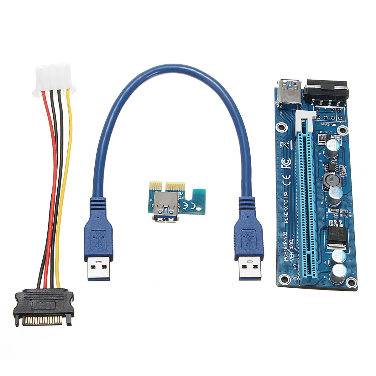 0.3m DC To DC USB 3.0 PCI Express 1x To 16x Extension Cable Extender Riser Adapter Card