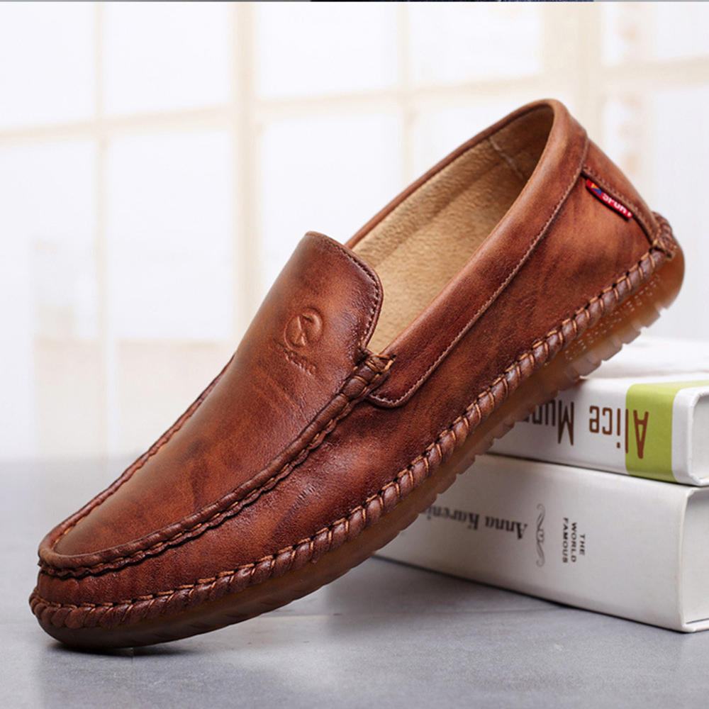 Non-Slip Casual Hand Stitching Leather Soft Sole Walking Oxfords