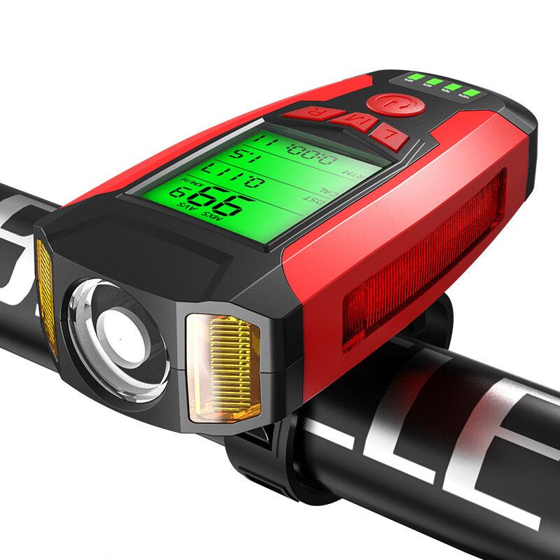 BIKIGHT 3 في 1 350LM COB Bike ضوء + USB مصباح القرن + عداد السرعة LCD شاشة 5 أوضاع ضد للماء مصباح أمامي للدراجة مع القرن
