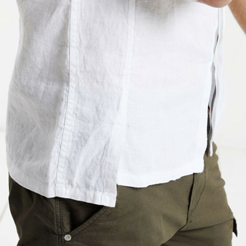 Mens Cotton 3/4 Sleeve Missing Buttons Band Collar Shirts - 7