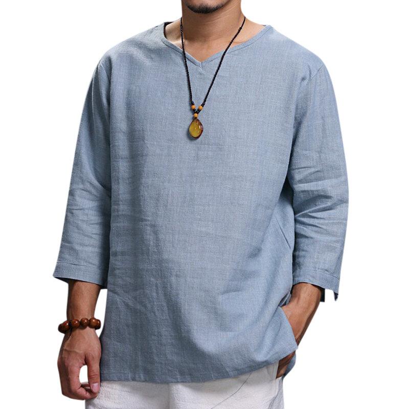 जातीय आरामदायक पुरुषों की लंबी आस्तीन वाली वी-गर्दन ठोस रंग बड़ा आकार लूज टी-शर्ट्स