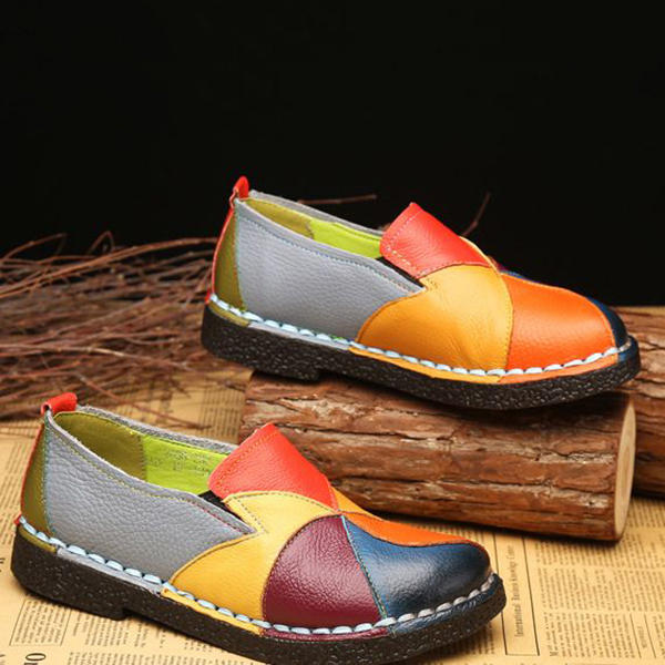 Women Casual Solid Color Round Toe Lace Up Loafers - 4