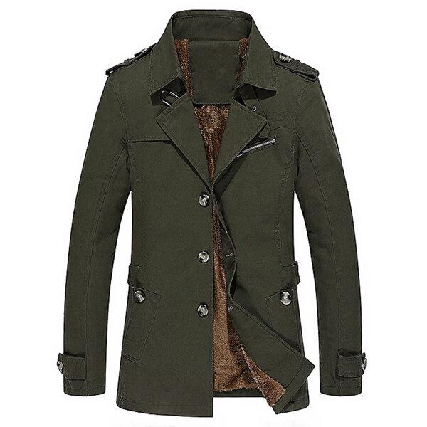Winter Velvet Plus Thick Warm Military Style Outdoor Jacket Slim Fit Men Parkas Coat - 4