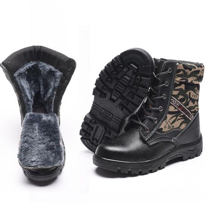TENGOO Winter Mens Camouflage Steel toe Fur Lined work Ankle boots Labor Safety Shoes Work Shoes Waterproof - 3