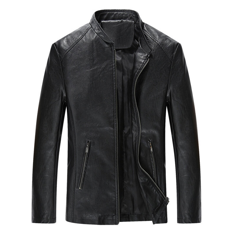 Mens Stand Collar Black Biker Jacket Spring Autumn Faux Leather Coats - 3
