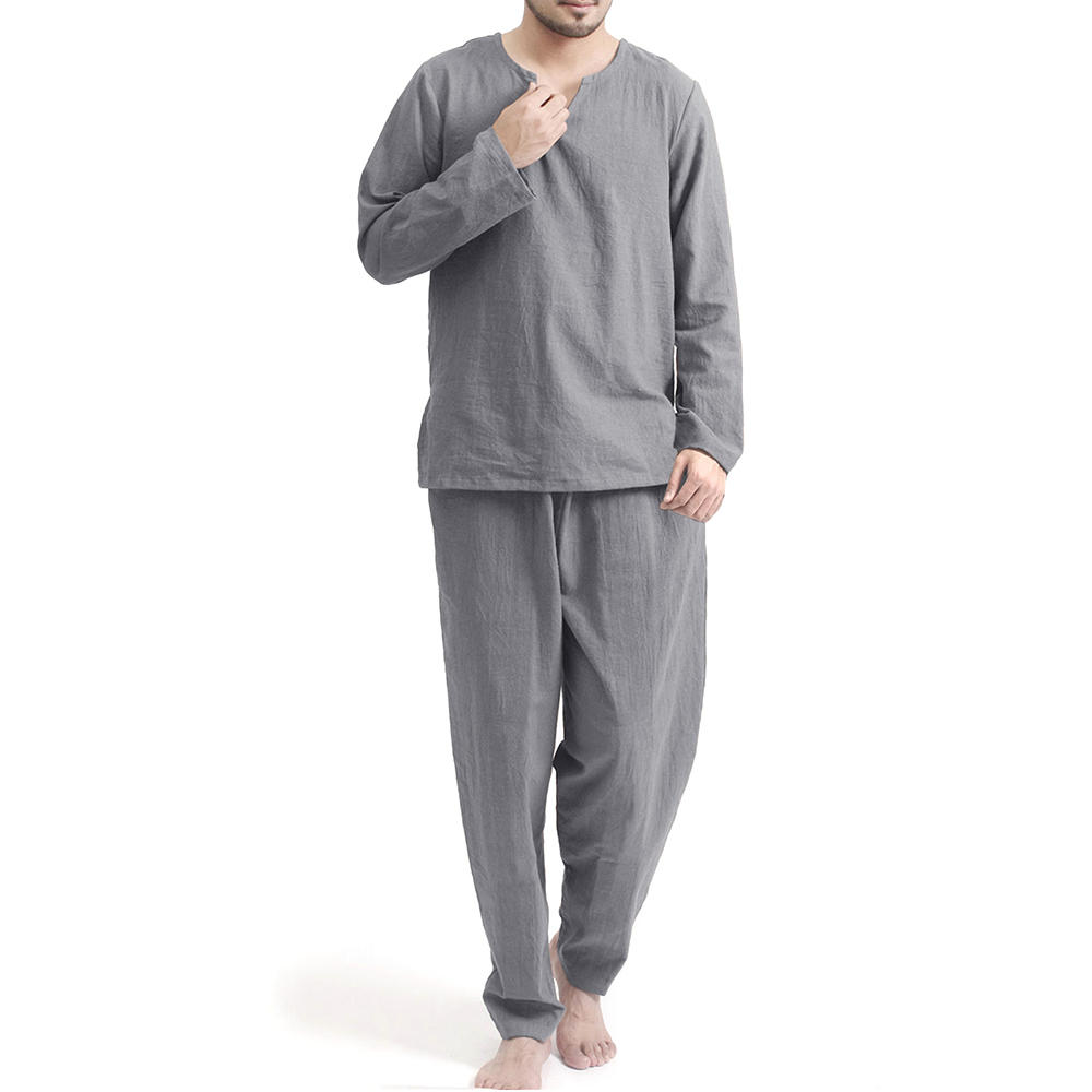 Mens Casual Crew Neck Set Printing Elastic Waist Home Suit - 6