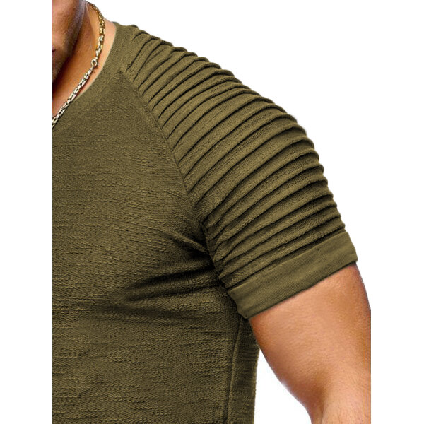 Men's Fashion Cotton Slim Breathable O Neck Pure Color Short Sleeve Casual T shirts - 5
