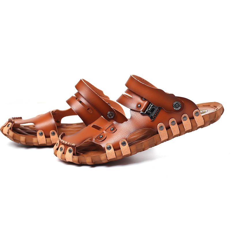 Men Beach Shoes Breathable Sandals Cooler Summer Mixed Slip Soft Flats Male Slippers Microfiber