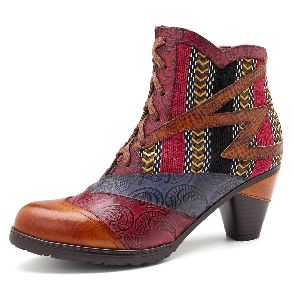 Women Genuine Leather Cuffed Thick Heel Lace-up Ankle Boots - 2