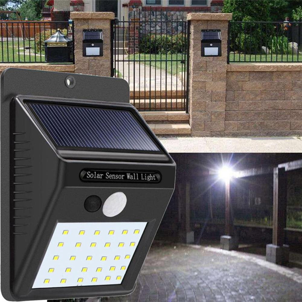 2pcs Solar Power 30 LED PIR Motion Sensor Wall Light Waterproof Outdoor Path Yard Garden Security Lamp