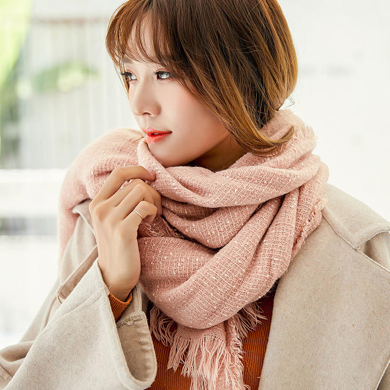 Men Women Winter Cashmere-Like Starry Dots Fringe Whisker Knit Couples Scarf Trend Solid Color Shawl
