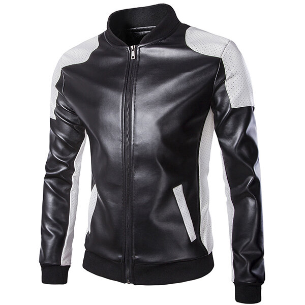Mens Water Repellent Windproof Stand Collar Jacket Solid Col - 1