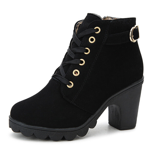 SOCOFY Bohemian Stitching Embossed Leather Ankle Boots - 2