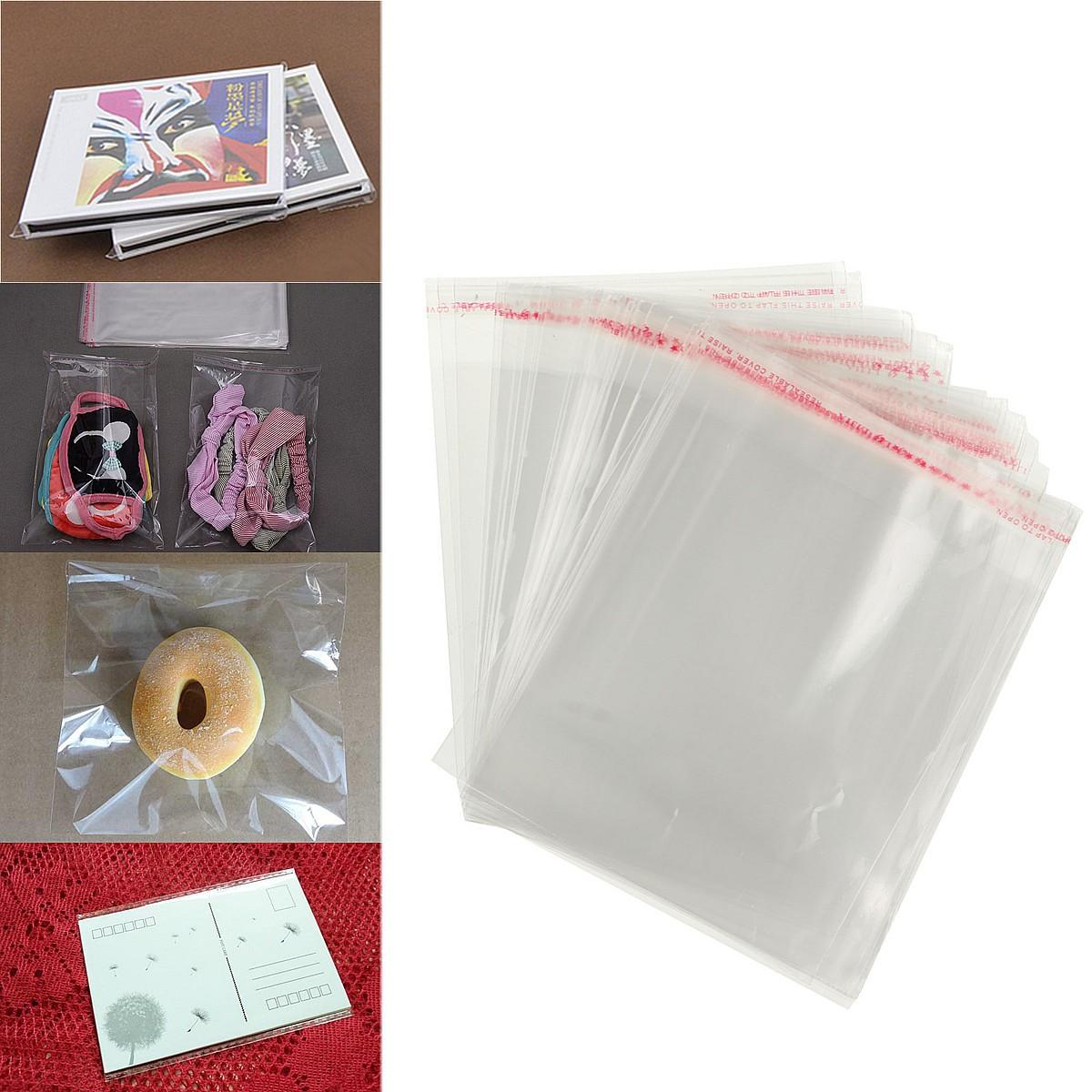 100pcs 12×16cm Clear Cellophane Display Bags Self Adhesive Seal Plastic For Card - 1