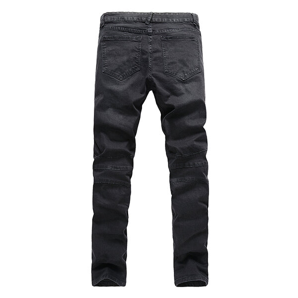 Mens Skinny Fit Zipper Jeans Fashion Elastic Black Mid rise Denim Pants - 3