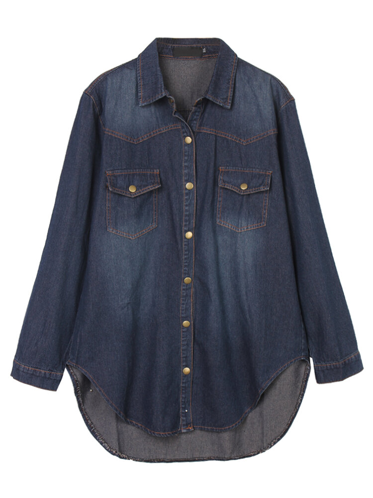 Vintage Women Lapel Button Split High Low Denim Shirt Blouse