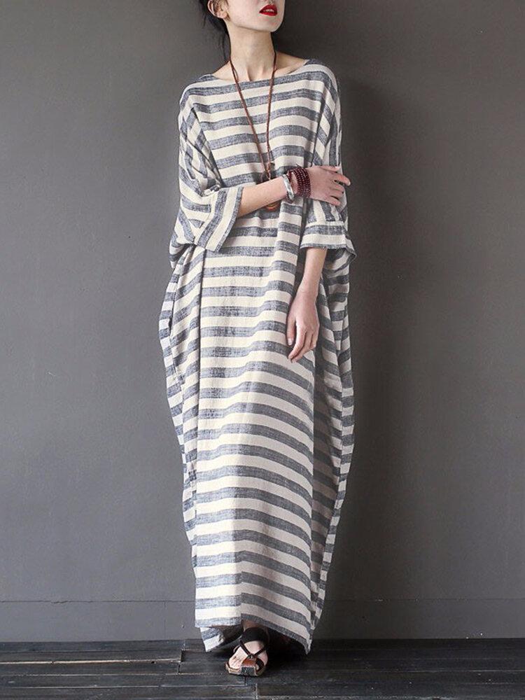 Casual Women 3/4 Sleeve Striped O-Neck Baggy Cotton Maxi Dress