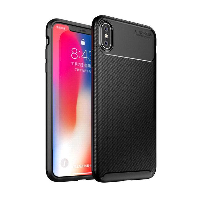 Bakeey Protective Case For iPhone XS/X Slim Carbon Fiber Fingerprint Resistant Soft TPU Back Cover