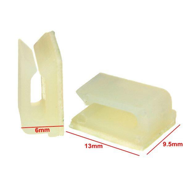 100pcs Electrical Cable Clamp White Plastic Wire Tie Rectangle Cable Mount Clip Clamp Self adhesive Wiring Accessories - 6