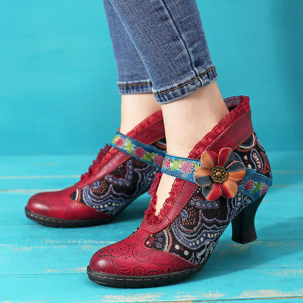 Round Toe Thick High Heel Lace-up Side Zipper Women Boots - 1