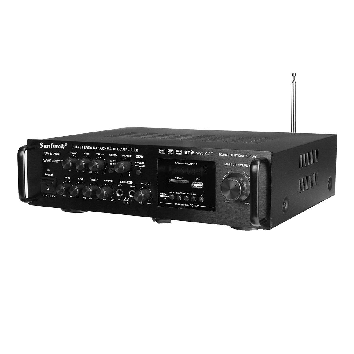 Sunbuck TAV-6188BT 2000W 4ohm Setero Bluetooth FMカラオケアンプRCサポート2マイク