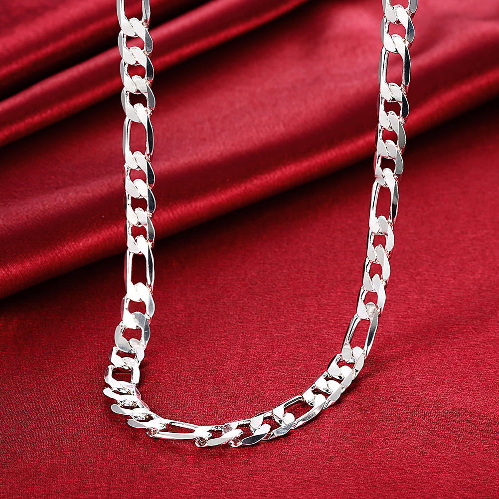 Silver Plated Simple Men Necklace Chain Jewelry Flat Chain - 5