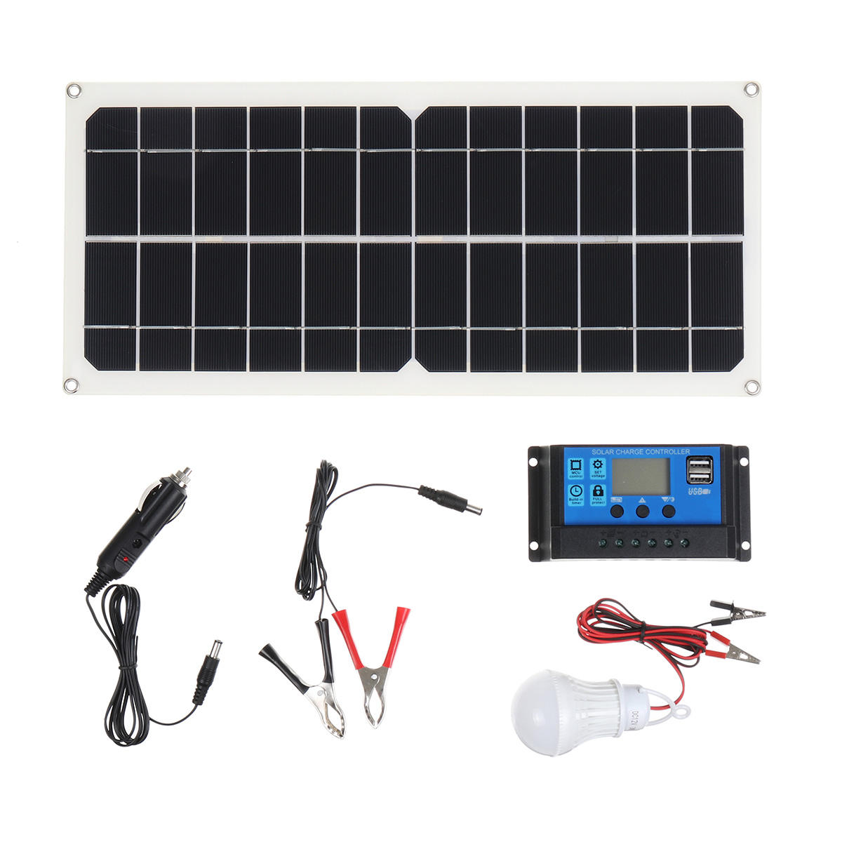 Efficient Solar Powered System 40W Dual USB Ports Solar Panel & 2000W Power Inverter & 10A Controller - 1