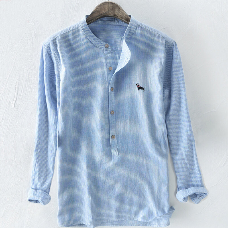 TWO-SIDED Dog Embroidery Cotton Breathable Striped Loose Casual Men Buttons Shirts