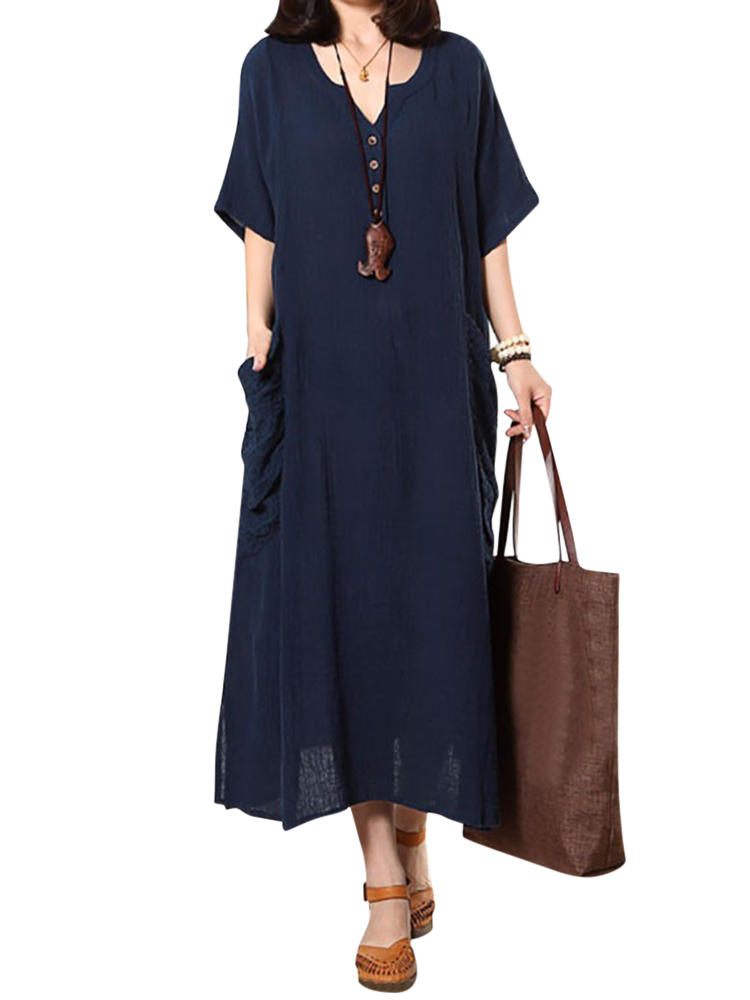 Plus Size Casual Stripe Round Neck Maxi Dress with Pockets - 4