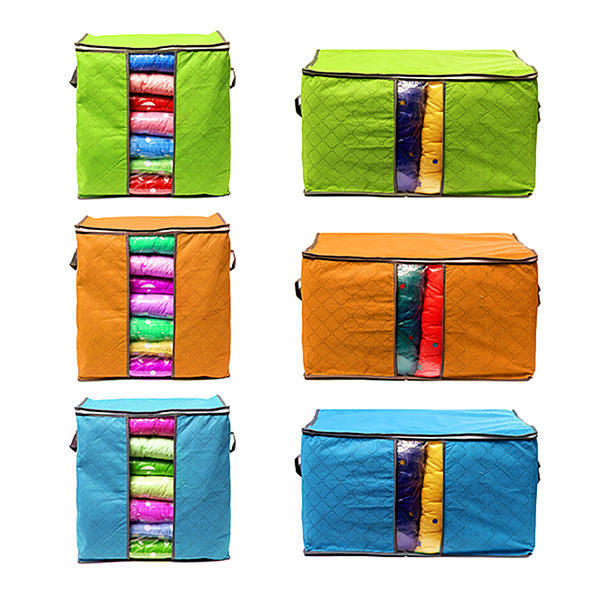 High Capacity Clothes Quilts Storage Bags Folding Organizer Bags Bamboo Portable Storage Container - 12