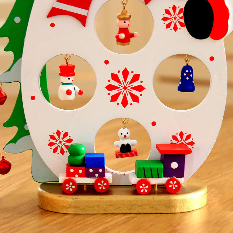 Christmas 2017 DIY Cartoon Wooden Santa Claus Ornament Table Desk Decoration Christmas Gifts - 5