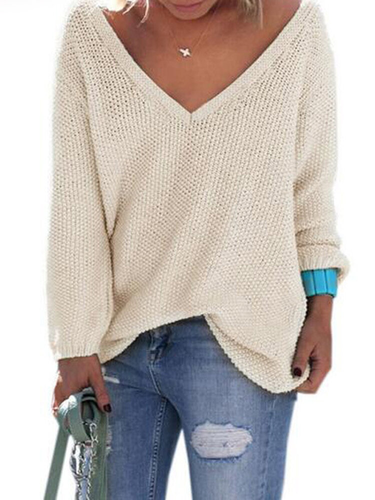 Women Solid Color V-Neck Knit Long Sleeve Sweaters