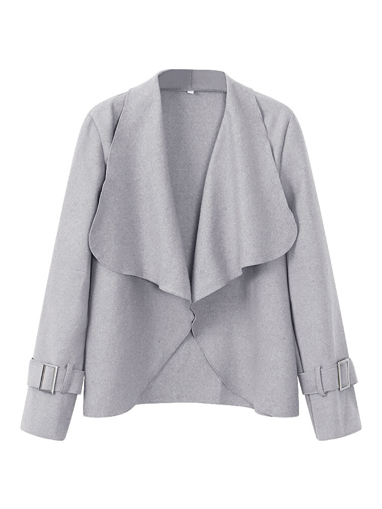 Loose Women Lapel Button Pocket Irregular Thin Trench Coat Jacket - 1