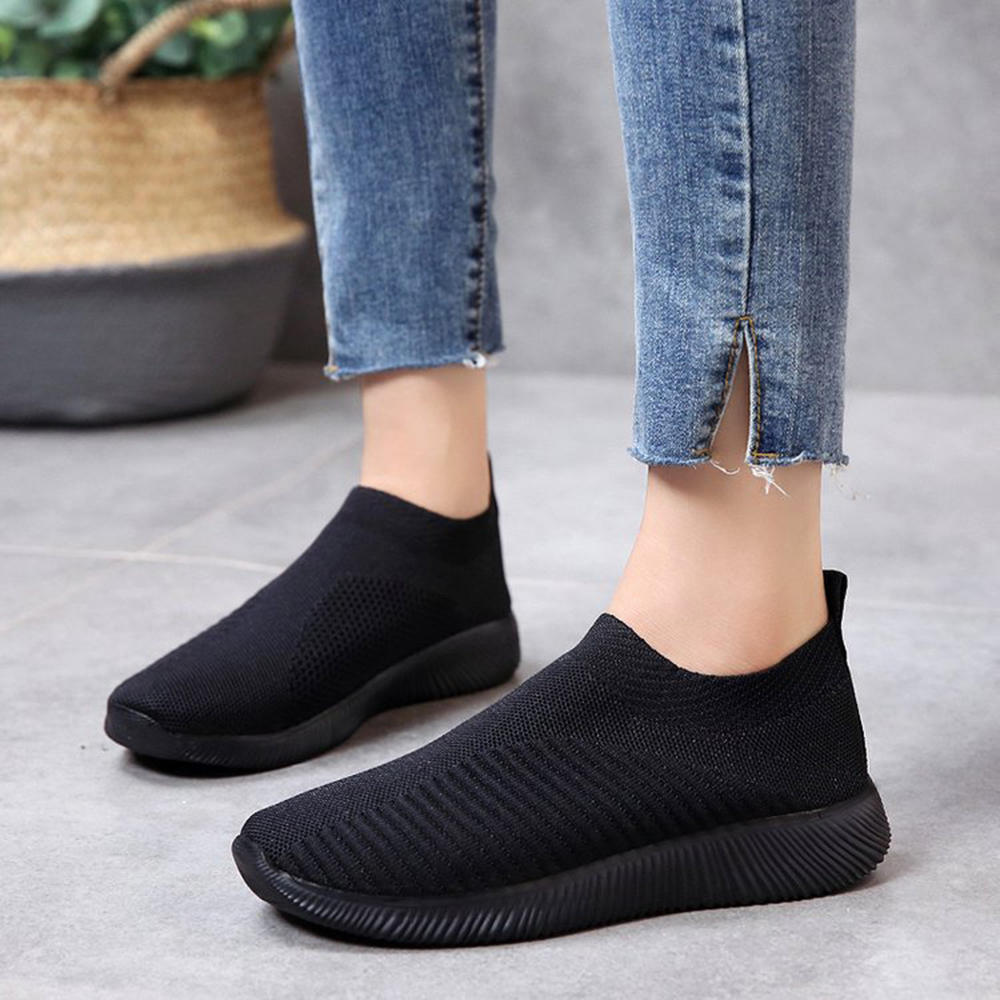 Women Mesh Breathable Slip On Soft Sole Casual Sneakers - 6