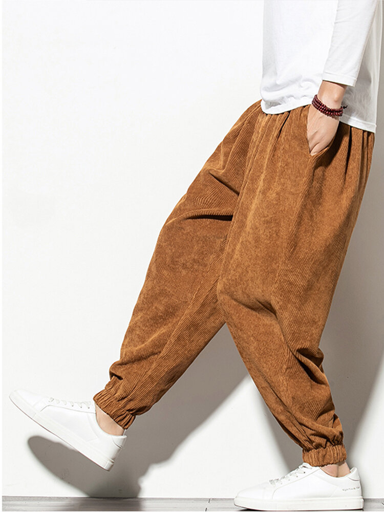 Mens Corduroy Solid Color Drawstring Mid Waist Elastic Cuff Jogger Pants