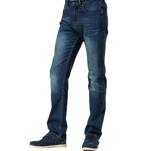 Mens Straight Leg Casual Mid Waist Business Jeans Cotton Slim Fit Comfortable Denim Pants - 3