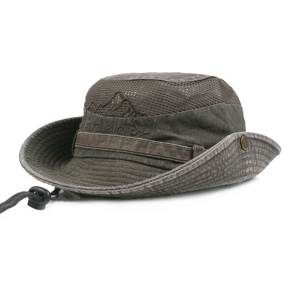 dfe7a591 Mens Cotton Embroidery Bucket Hat Outdoor Fishing Hat Climbing Mesh  Breathable Sunshade Cap - Khaki COD