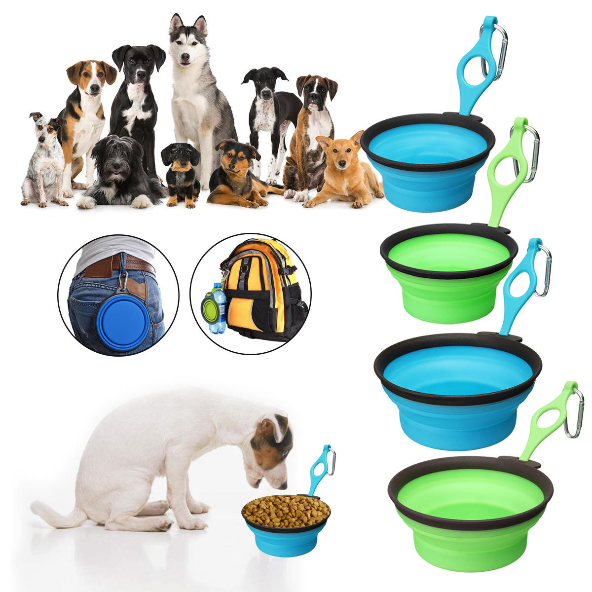 Dog Cat Collapsible Silicone Dow Bowl