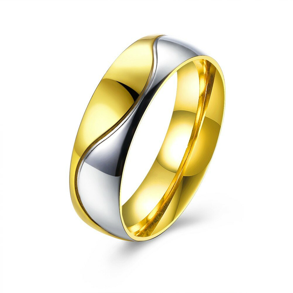 Gold Shine Stainless Steel Zircon Couple Ring Women Men Jewelry For Wedding Gift