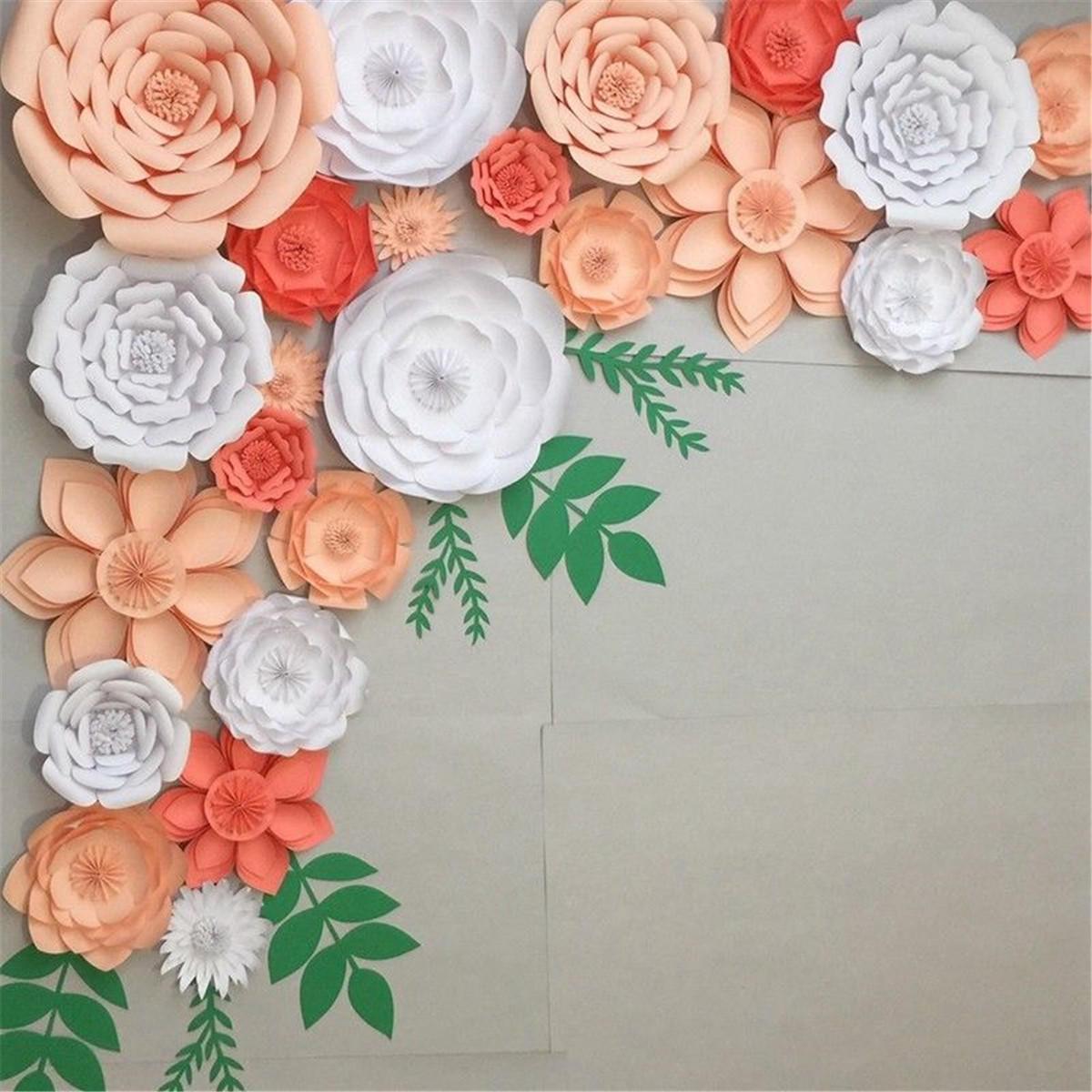 30cm DIY Paper Flowers Leaves Backdrop Decorations Kid Birthday Party Wedding Favor - Beige 1 COD