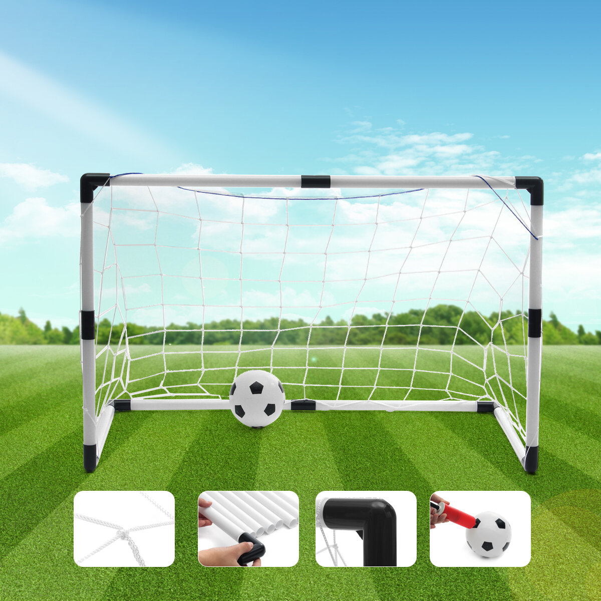 19b0be237091b7 2 mini set football soccer goal post net + ball + pump kids outdoor ...