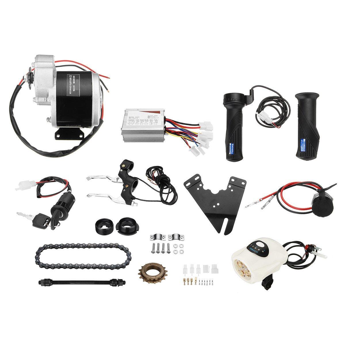 24V 350W Motor eléctrico de bicicleta Scooter Motor controlador de conversión Kit