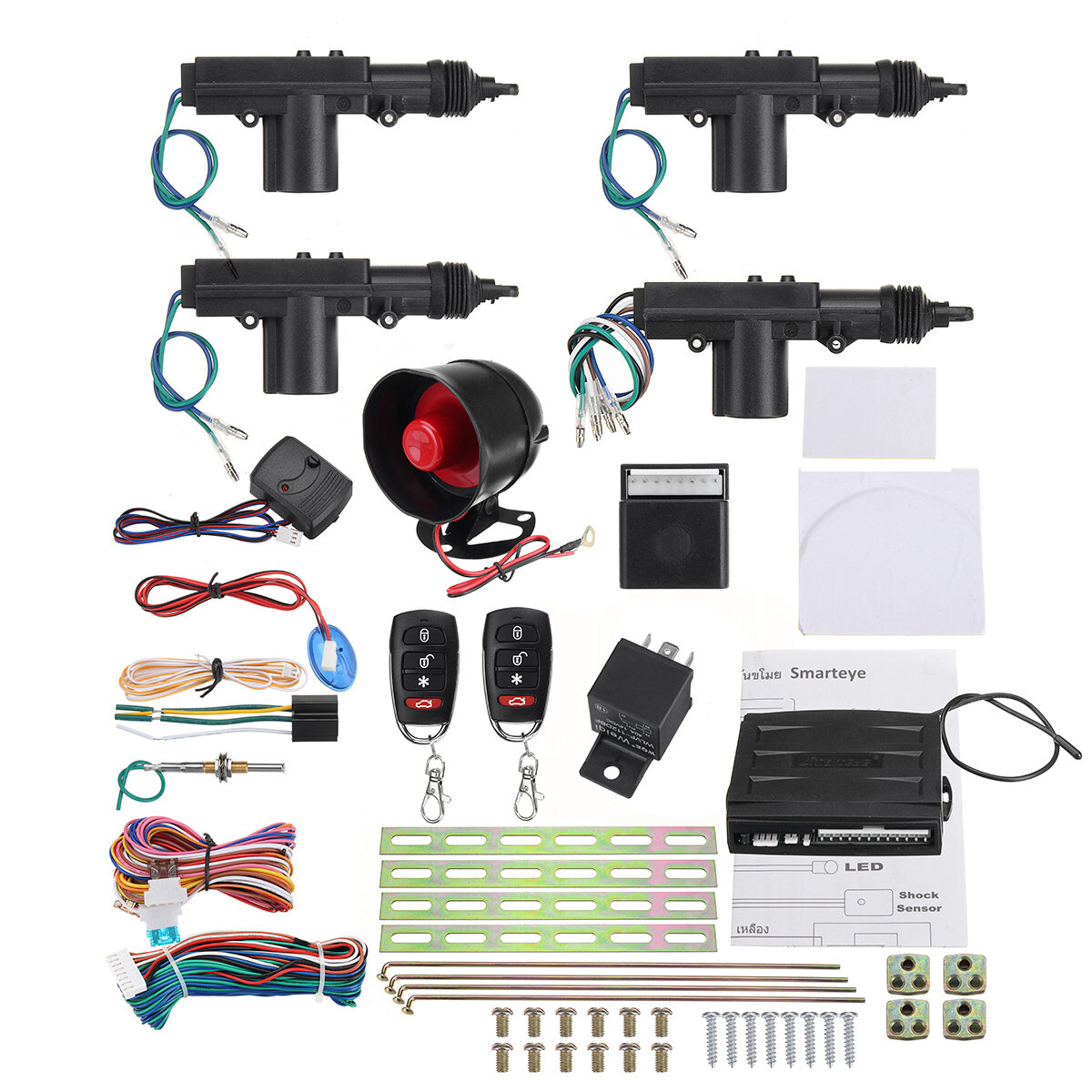 Remote Control Car Alarm System Keyless Entry Security 2 4 Door Power Lock Actuator Motor Kit фото