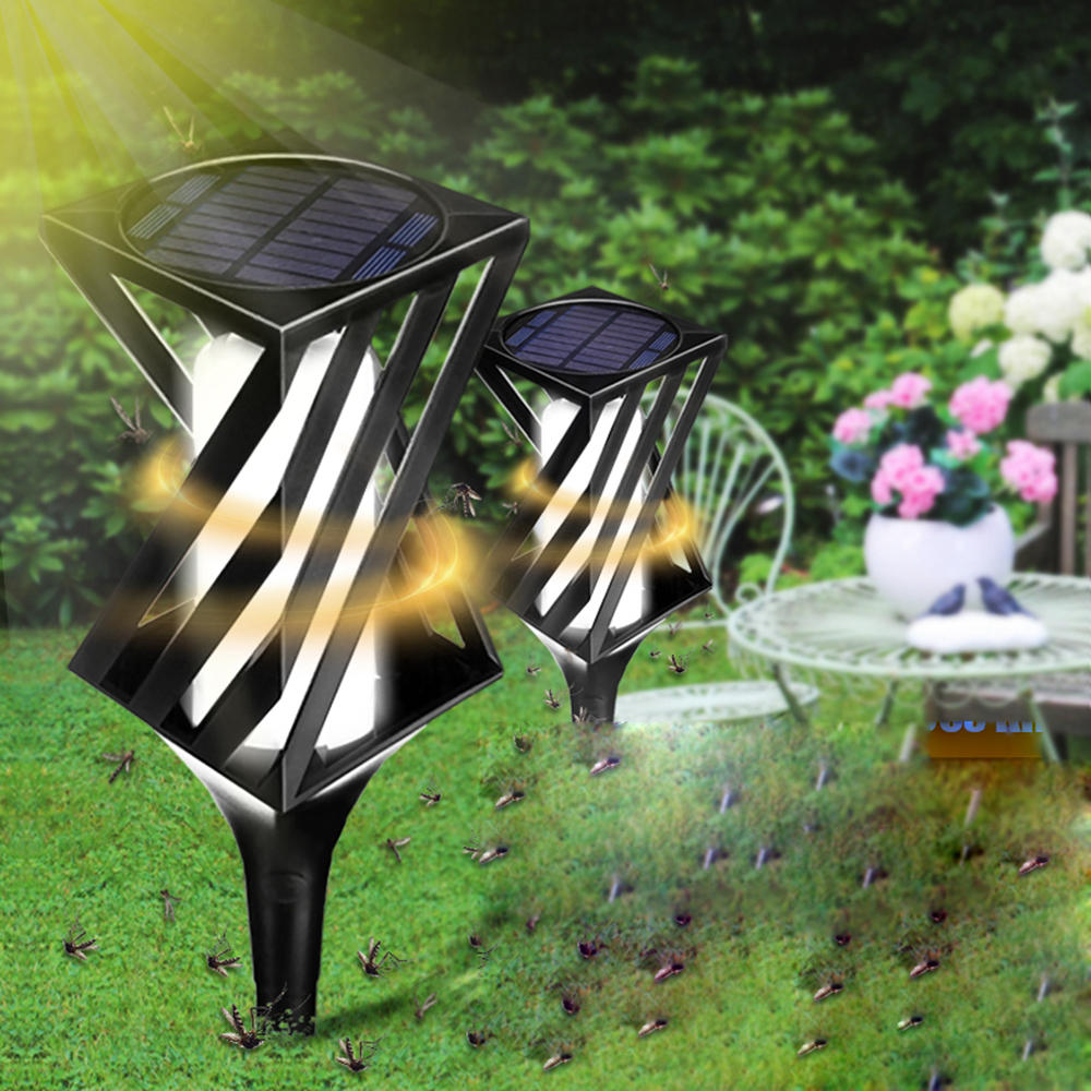 2pcs Solar Powered Led Light Mosquito Killer Insect Repellent Bug