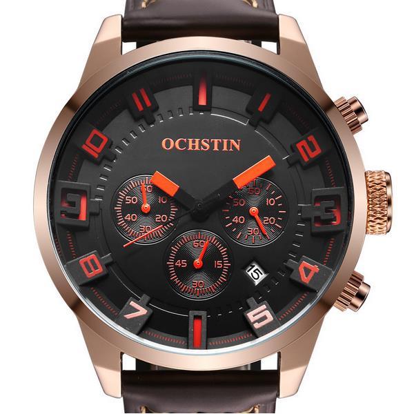 OCHSTIN GQ049Aファッションメンズクォーツ腕時計カジュアルアナログレザーストラップスポーツウォッチ