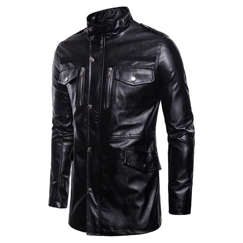 Mens PU Leather Fashion Black White Stitching Motorcycle Biker Jacket Baseball Collar Coat - 2