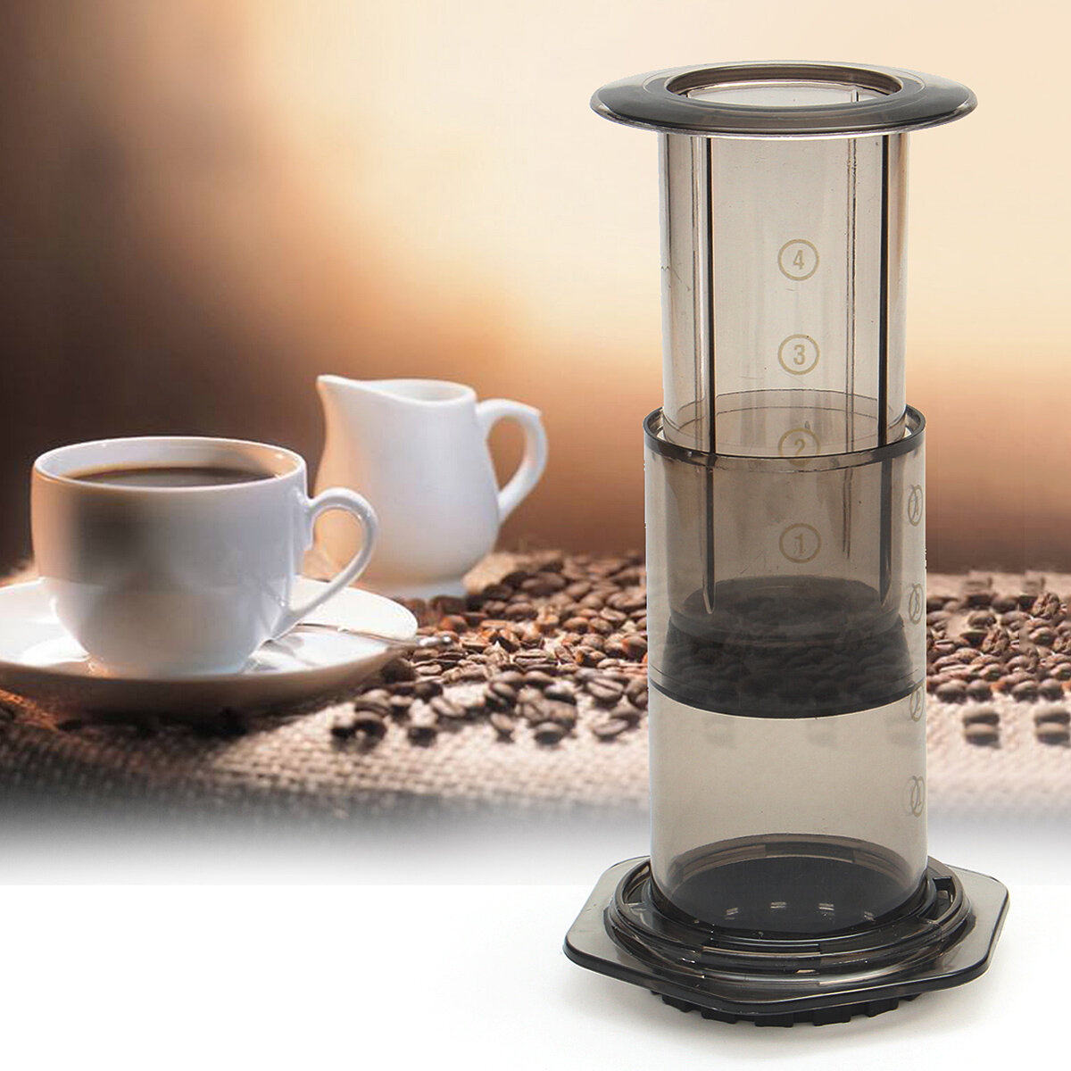 Portable Filter Press Coffee Maker Pot Hand Pressure Machine Free Filter Paper