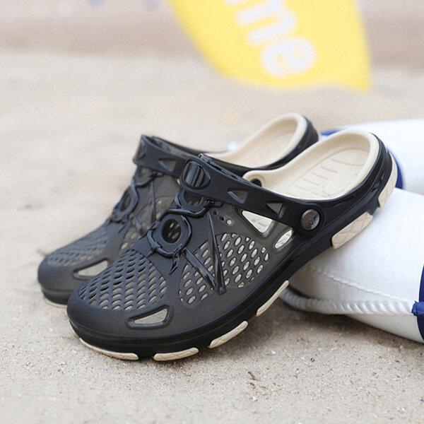 Men Genuine Leather Clip Toe Slippers - 7