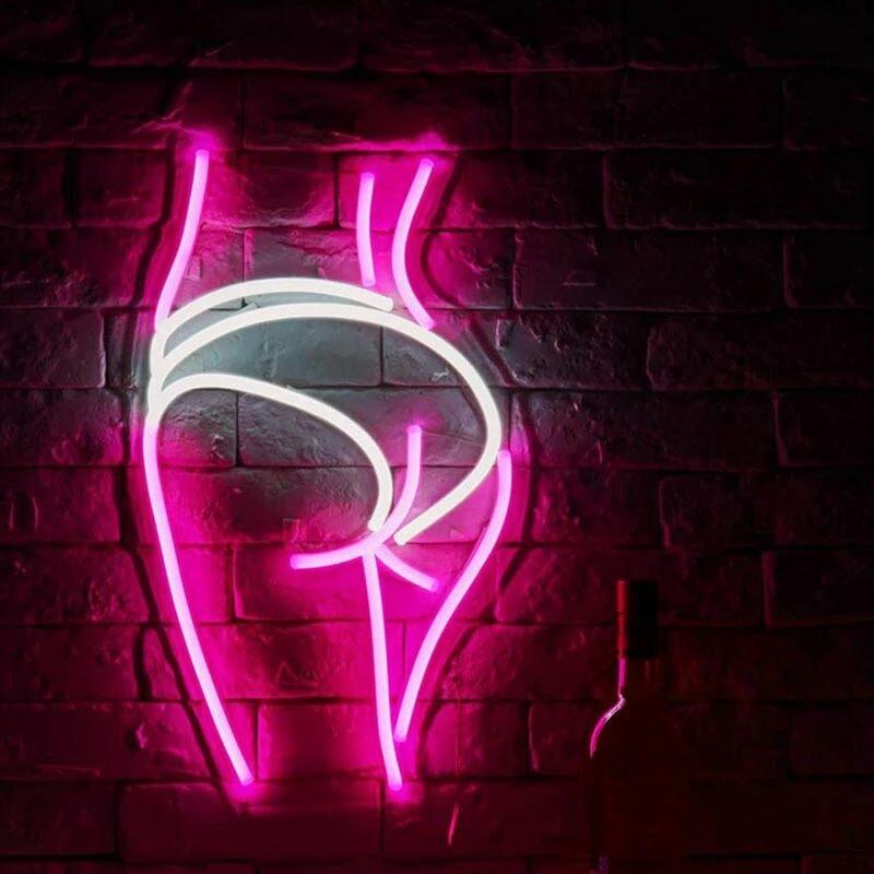 Neon Light Sign Custom Led Human Body Girl's Buttocks Visual Art Bar Club Wall Hanging Flexible Lighting For Sign Decor